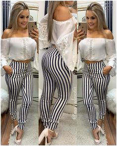 Best 12 Image may contain: one or more people, people standing and stripes – SkillOfKing. Casual Work Outfits, Cute Fall Outfits, Girly Outfits, Office Outfits, Spring Outfits, Casual Dresses, Cool Outfits, Fashion Pants, Girl Fashion
