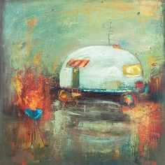 Contemporary painting of an old airstream trailer with grill.