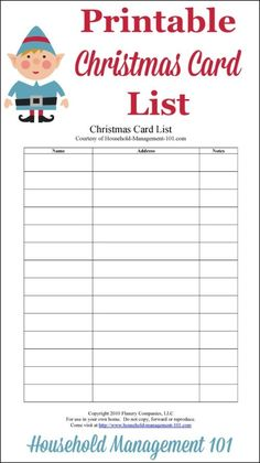 Free printable Christmas card list, courtesy of Household Management 101