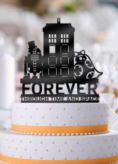 Star Wars with Doctor Who Tardis Forever Though Time and Space Wedding Cake Topper Star Wars Wedding Cake, Wedding Cake Toppers, Doctor Who Tardis, Dr Who, Unconventional Wedding Cake, Tardis Cake, Dalek Cake, Doctor Who Cakes, Wedding Vows Examples