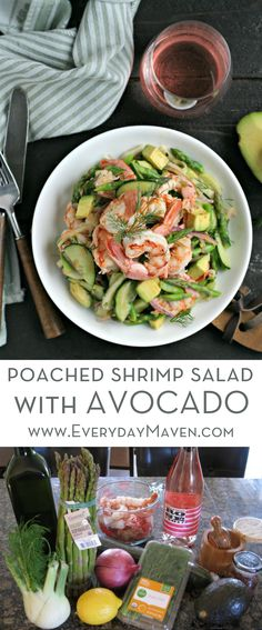 This quick Gluten Free and Low Carb Poached Shrimp Salad with Avocado is loaded with Spring Vegetables and a Citrus Dressing. Perfectly paired with Washington State Rose! via @EverydayMaven