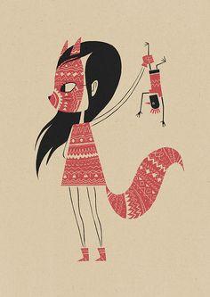 cockerel + fox • luke pearson #illustration