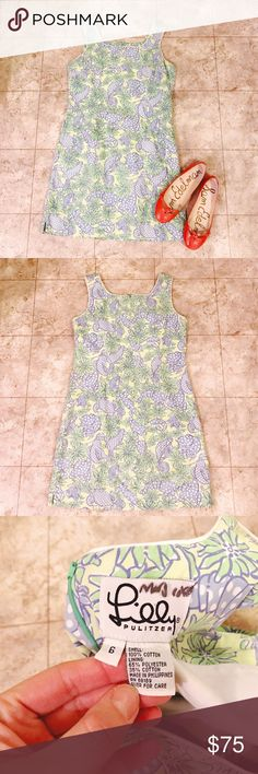 ✨ Lilly Pulitzer ✨ Seashell & Floral Summer Dress Perfect for summer, this LP dress features an adorable seashell and flower design print; colors are green, dark green and a periwinkle/light blue; Size 6; machine wash cold; bundle & save; Open to reasonable offers! Lilly Pulitzer Dresses