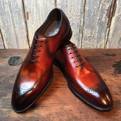 Handmade men leather shoes, brown shaded leather shoe for men, dress formal shoe - Dress/Formal