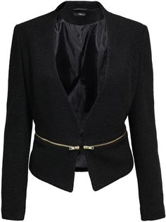 Jane Norman Zip Blazer in Black - Lyst