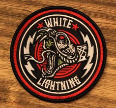 """White Lightning"" Embroidered Patch by strawcastle on Etsy, $7.00"