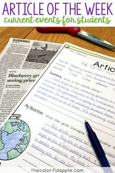 SOCIAL STUDIES ACTIVITY/ASSIGNMENT- Article of the Week is a great way to incorporate current events into your upper elementary classroom. A fun social studies activity! Includes a FREE template and rubric. 7th Grade Social Studies, Social Studies Curriculum, Social Studies Lesson Plans, Kindergarten Social Studies, Social Studies Notebook, Social Studies Classroom, Social Studies Activities, Teaching Social Studies, Teaching History