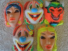 Halloween Masks with the elastic around the back of your head....