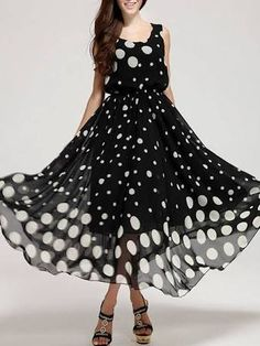 long polka dot dress - Google Search