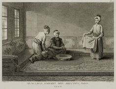 Muslim man performing ritual ablution before prayer.1787 | par OTTOMAN IMPERIAL ARCHIVES