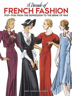 More than 100 selections of day and evening wear from full-color French catalogs produced for the international market document changes in fashion from the stock market crash to the dawn of WWII.