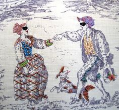 We are all familiar with toile fabric that depict classic scenes of country life or nobility. Artist Richard Saja takes it to a bizarre level creating an embroidered world that's filled with clowns, masked dancers, and dressed up animals.