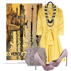 "Ahhh I can see where the inspiration came from! Love the yellow and cuts of this, so fitting! ""Venise et le Lido"" by georgina-m on Polyvore"