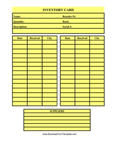 inventory card template