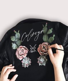 Hand Painted Leather Jacket / Bridal Jacket / Boho Wedding / Boho Bride  By @bashcalligraphy