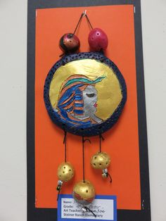 4th grade ancient Egyptian engraved terra-cotta tablet with clay beads; lesson by art teacher: Susan Joe