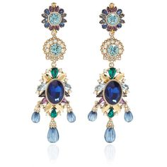 Marchesa     Chandelier Drama Earrings ($150) ❤ liked on Polyvore featuring jewelry, earrings, blue, chandelier earrings, blue swarovski crystal earrings, swarovski crystal jewelry, metal earrings and metal jewelry