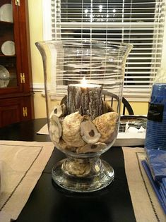 This would be a cute idea if we had an Oyster Roast to celebrate the wedding and kept shells to make a centerpiece....