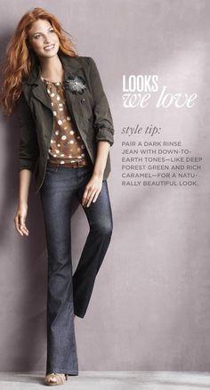 military jacket $80, boot cut jeans $60, open-toe heels $90, skinny belt $40, feather broach $19