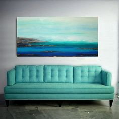 """RESERVED for a Client.  Original Seascape Painting Titled: Distant Shore 30x60x1.5"""" by Ora Birenbaum"""