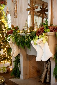 white stockings hung with evergreens, green apples and pine cones