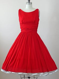 1950s Red Party Dress / 50s Red Dress  // Just by WearAreTheyNow, $114.00