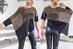 Patrón para confeccionar una bonita blusa asimétrica en dos tonos con diferentes tejidos. Talla desde la 36 hasta la 56.
