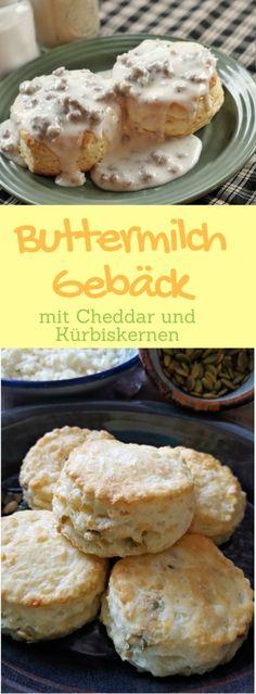 Buttermilch Gebäck mit Cheddar und Kürbiskernen