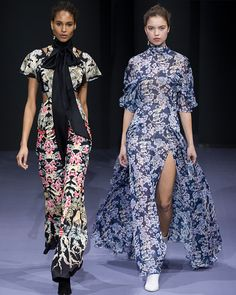 The Victory Print Jumpsuit and Captain Print Tie Neck Dress on the runway at the Winter '16 Temperley London LFW show