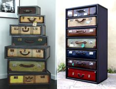 suitcase decorating ideas | JAMESPLUMB Transforms Vintage Suitcases Into Elegant Chests of Drawers ...