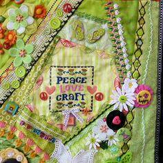 Detail Yellow Green Block, 'Sewing' Crazy Quilt, ©Debra L. Dixon, 2013