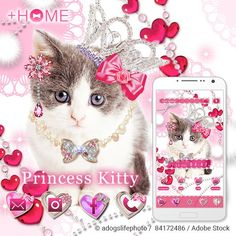 """""""Princess Kitty""""  Every kitty is a princess in her own way. This theme is adorable and a great fit for any cat lover! Download Now:http://bit.ly/2enpd7x #cute #wallpaper #love #kawaii #design #icon #plushome #homescreen #widget #deco"""