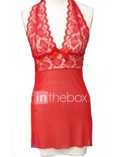 36420fae405 Women s Babydoll   Slips Nightwear - Lace Solid Colored   Crew Neck