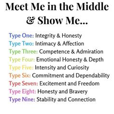Meet me in the middle enneagram reference Personality Psychology, Mbti Personality, Type 5 Enneagram, The Middle Show, Type One, Entp, Words, Image, Psicologia