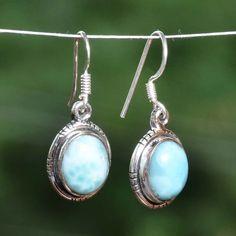 """Fine Jewellery 925 STERLING SILVER LARIMAR EARRING 4.96g DJER3879 L-1.25""""…"""