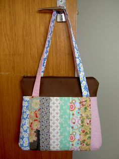 Make a patchwork bag pattern with a cute stripey design using your scrappy quilt leftovers. This quilted handbag is cute, but also has functional ways to keep your everyday essentials safe.