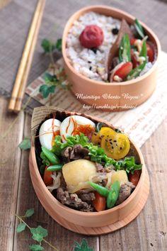 Nikujaga (Japanese meat and potatoes) bento box Japanese Food Art, Japanese Lunch Box, Sac Lunch, Bento Box Lunch, Bento Recipes, Cooking Recipes, Cooking Tips, C'est Bon, Soul Food