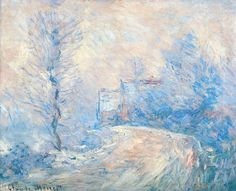 The Entrance to Giverny under the Snow by Monet
