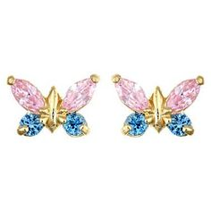 Yellow Gold Pink and Blue Butterfly Earrings from The Jewelry Vine