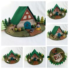 Fairytale Cottage Playscape Play Mat felt pretend open-ended storytelling fantasy woodland felt dollhouse unisex preschool toy gift child by MyBigWorld2015 on Etsy