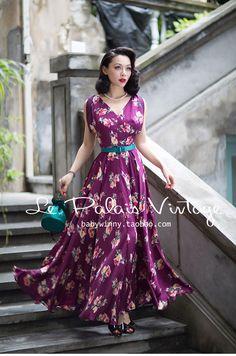 FREE SHIPPING Le Palais Vintage 2016 Summer New Arrival Elegant Big Floral Batwing Sleeve High Waist Drape Long Dress…
