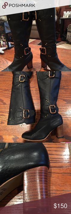 "CHLOE BLACK LEATHER BOOTS-size 7👢👢👢 Gorgeous CHLOE BOOTSTRAP. Great heel height 2.5"" (EUC) with slight blemish on right heel. Heavy duty rubber sole. Rich gold buckles and hardware. Beautiful pebbled leather. I so wish they were my size😣 Chloe Shoes Heeled Boots"