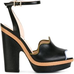 Fendi peep-toe waves sandals (10.666.395 IDR) ❤ liked on Polyvore featuring shoes, sandals, black, black platform shoes, block heel sandals, leather ankle strap sandals, fendi sandals and black platform sandals