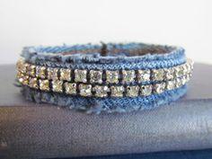 Bracelet  Diamonds and Denim  Recycled by daringmisslassiter, $16.00