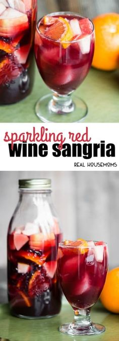 Sparkling Red Wine Sangria is a fabulously easy make-ahead cocktail. The longer the fruit soaks, the more of the sangria it absorbs for a snack once you finish your cocktail! Sangria Drink, Red Wine Sangria, Wine Cocktails, Wine Slushies, Holiday Cocktails, Sweet Red Sangria Recipe, Red Sangria Recipes, Cocktail Recipes, Drink Recipes