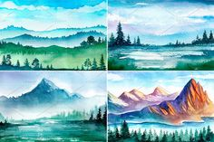 Landscape. Watercolor sketches. - Illustrations - 2
