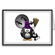 Cute Witchy Penguin with Halloween  Card - #Penguin #witch #halloween