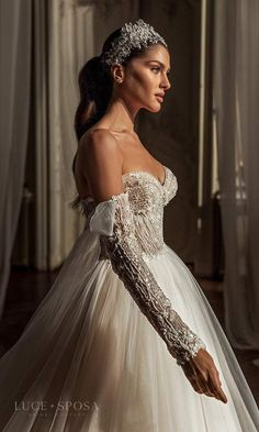 Bridal Gowns, Wedding Gowns, Embellished Gown, Bridal Collection, Couture Collection, Bridal Style, Ball Gowns, Couture Bridal, Chapel Train