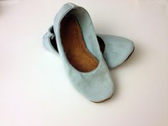 DIY foldable ballet-flats Materials • old or cheap ballet flat you are willing to cut up • scissors • paper • pen • sturdy fabric - I used a pair of jeans from Good Will • lightweight leather ($7 on...