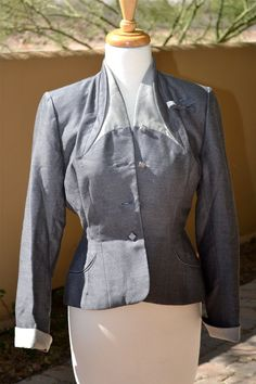 vtg 1940s WOOL grey STRUCTURED military by faintofheartvintage, $50.00